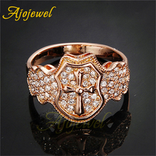 Ajojewel Women Cross Ring Size 8 7 White Rhinestone Cocktail Ring Fashion Jewelry trendy cross rhinestone decorated ring for women