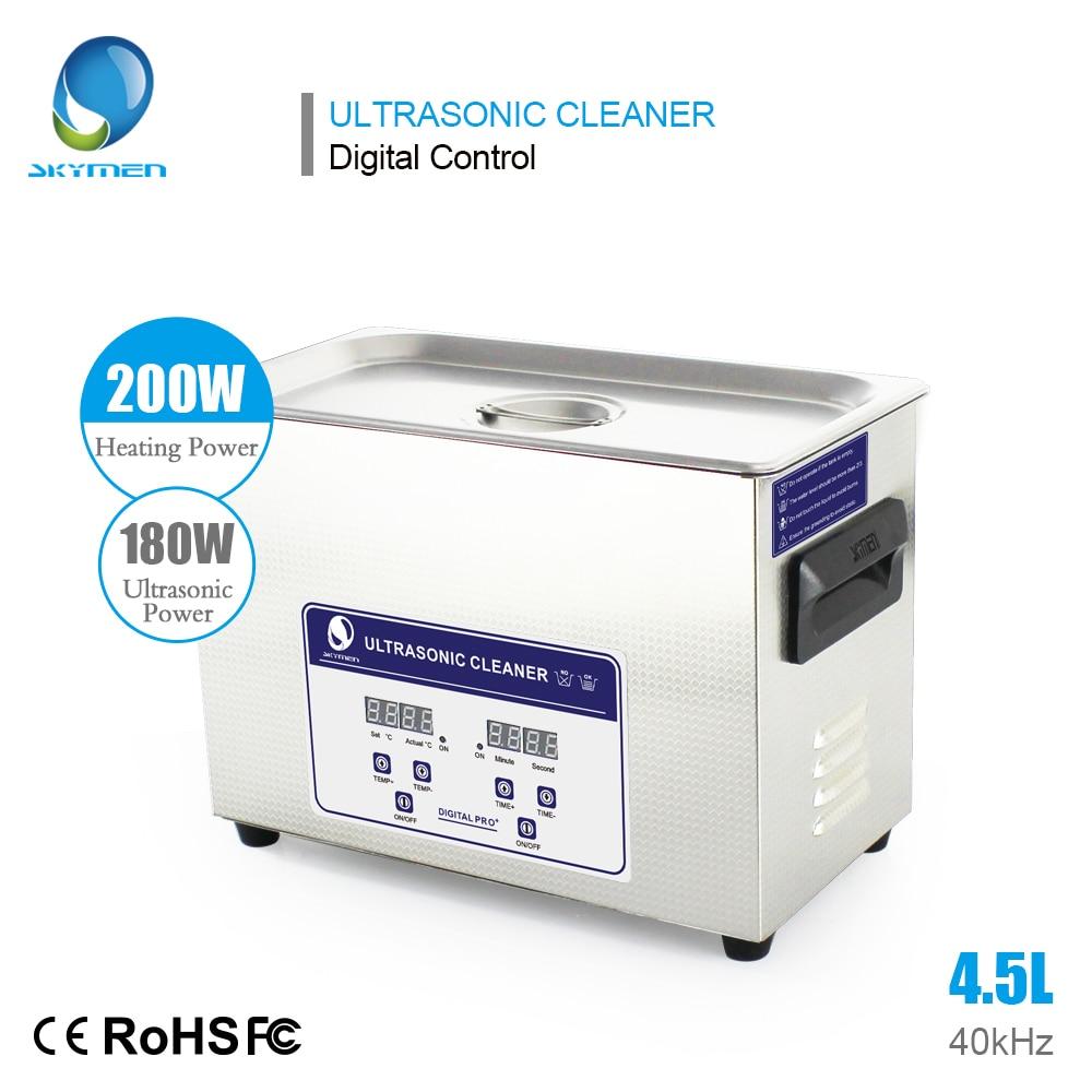 SKYMEN Digital 4 5L 180W Ultrasonic Cleaner Bath Heated Stainless Basket Injector Engine Metal PCB Ultrasound