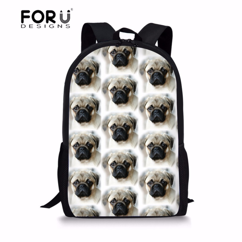 FORUDESIGNS School Bag Backpack Schoolbag Cute Pug Dog Printing Children Backpacks Kids  ...