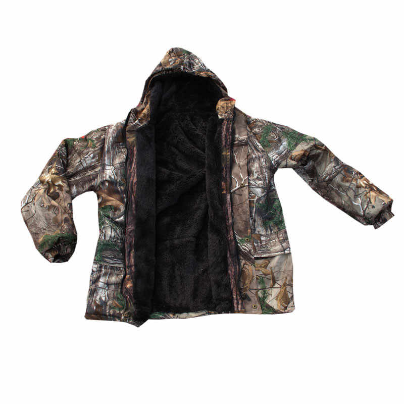 d7d8aa6f37b66 Winter Outdoor Windproof Waterproof Warm Thick Coat with Lining Fleece  Jacket Pine Bionic Camouflage Fishing clothing