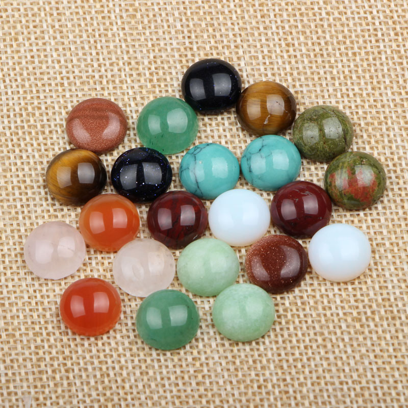 (60 pieces/lot) mix colors round dome flatback natural stone cabochon 12mm diy accessories for jewelry making