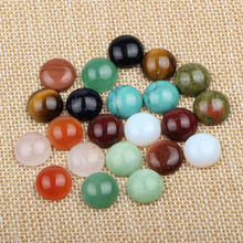 (60 pieces/lot) mix colors round dome flatback jade natural stone cabochon 12mm diy accessories for jewelry making
