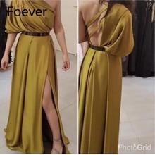 Новое поступление, вечернее платье на одно плечо, abiye gece elbisesi, Золотое Платье, официальное вечернее платье, длинное платье, длинное платье