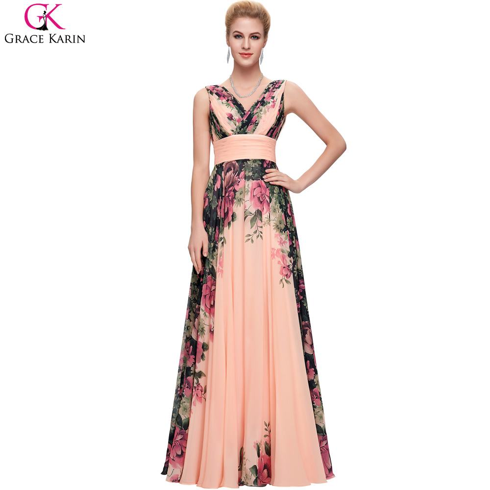 Long Bridesmaid Dresses Grace Karin V Neck Sleeveless Floral Print Pattern  Elegant Formal Gowns Plus Size Wedding Party Dresses ed601d317931