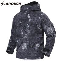 S.ARCHON Winter Military Tactical Jackets Men 2in1 Thicken Warm Waterproof Windproof Field Jacket Hooded Camo Army Clothing Male