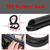 Car Edge Protector U shaped Rubber Auto Door Noise Insulation Anti Dust Soundproof Sealing Strips Trim 5 M Black