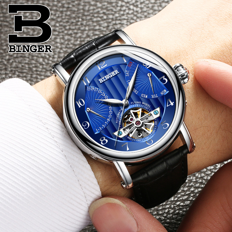 Mens Watches Top Brand Luxury BINGER 2017 Men Watch Sport Tourbillon Automatic Mechanical Leather Wristwatch relogio masculino купить