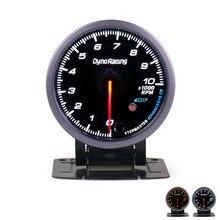 Dynoracing 60 мм Автомобильный Тахометр 0-10000 об/мин датчик RPM черный лицевой метр с белым и янтарным освещением автомобильный измеритель