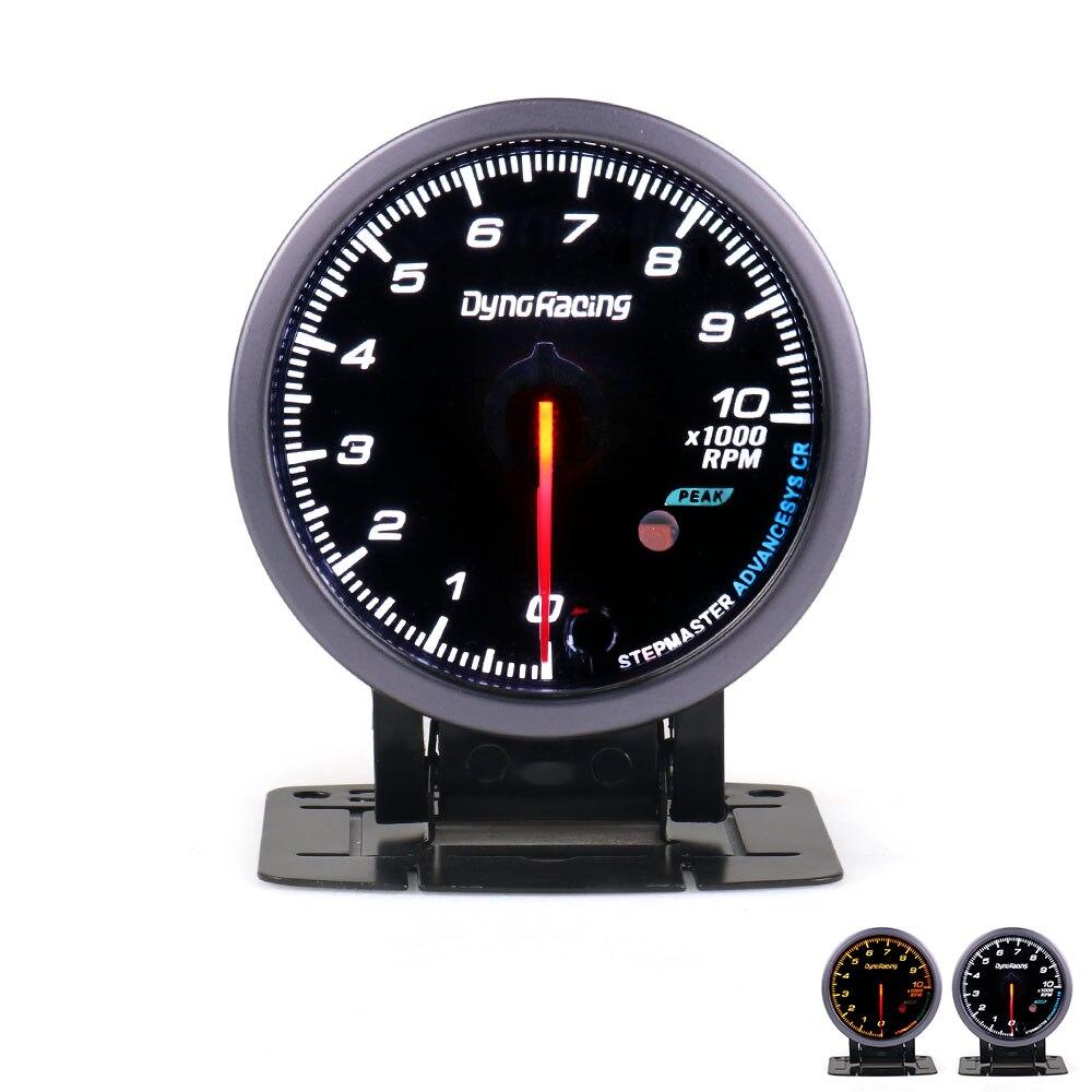 Dynoracing 60 MILÍMETROS Car Auto 0-10000 RPM Tacômetro Indicador RPM Medidor de Cara Preta Com White & Âmbar Iluminação medidor de carro