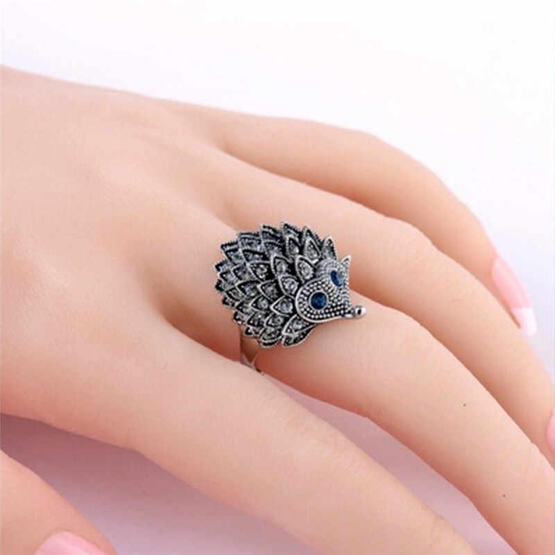 2018 милое винтажное ретро европейское панк кольцо Уникальный резной старинный Ежик счастливые кольца для женщин в стиле бохо пляжное для вечеринки ювелирные изделия