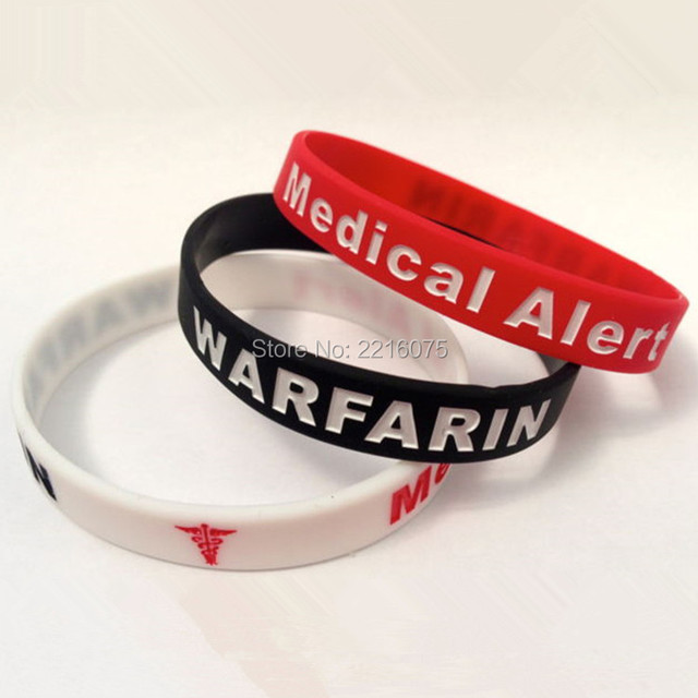300pcs Medical Alert Warfarin Wristband Silicone Bracelets Free Shipping By Dhl Express