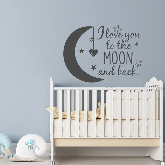 Classic I Love You to the Moon and Back Vinyl Wall Stickers Baby Quotes Nursery Wall Decals Stars Children Kids Room Home Decor