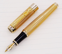 Jinhao 1200 Vintage Luxurious Fountain Pen Beautiful Ripple with Dragon Clip, Noble Golden Metal Carving Ink Pens Collection