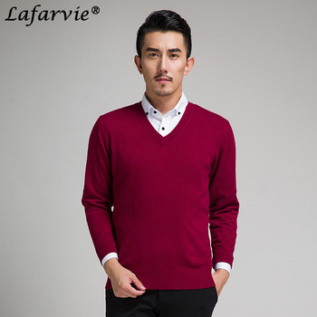 Lafarvie New Slim Knitted Cashmere Wool Sweater Men Tops Pullovers Autumn Winter Warm Casual Solid Color V-Neck Full Sleeve Pull