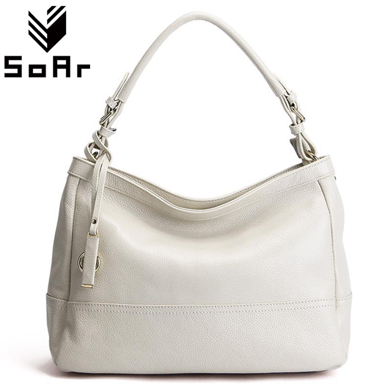 SoAr New Women Bag Genuine Leather Shoulder Luxury Handbags Women Bags Designer Famous Brands Ladies Totes Hot Sale Fashion hot sale 2016 france popular top handle bags women shoulder bags famous brand new stone handbags champagne silver hobo bag b075