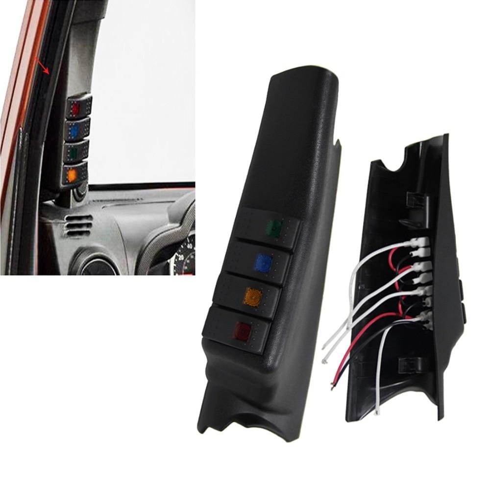 Left side A-Pillar Switch Pod Panel, 4 Rocker Switches Kit for Jeep Switch Panel, For Jeep Wrangler JK JKU 2007-2016 harley davidson headlight price