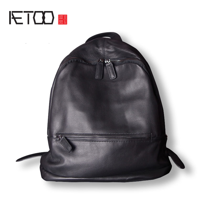 AETOO Leather backpack shoulder bag female new European and American large capacity personality first layer of wild aetoo leather men bag wild european and american first layer of leather men s shoulder bag trend backpack