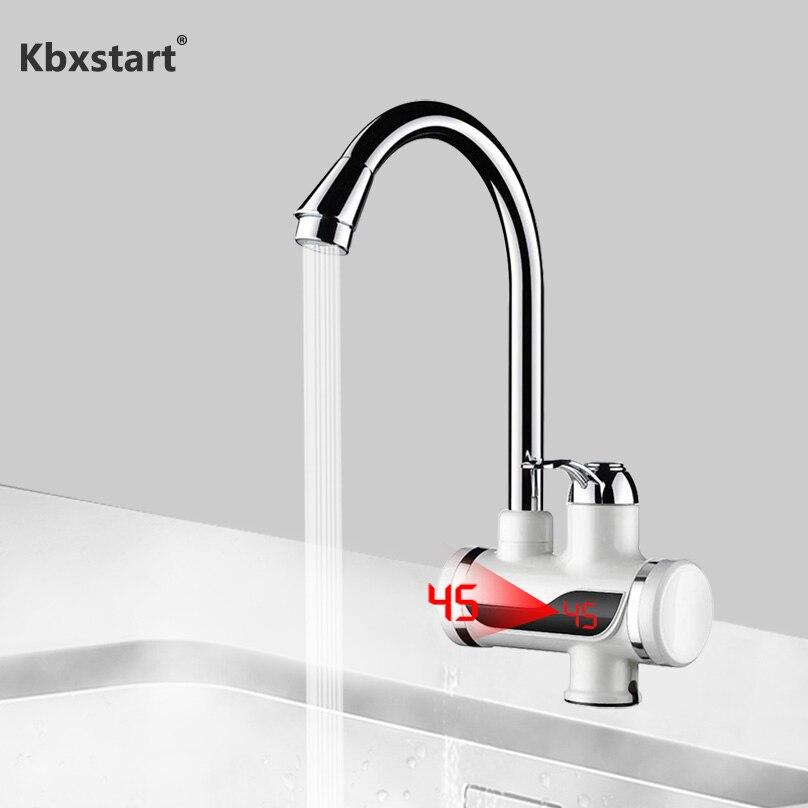 Robinet d'eau de robinet de chauffage de cuisine de salle de bains rotative 110V robinet de chauffe-eau électrique sans réservoir avec affichage numérique de LED