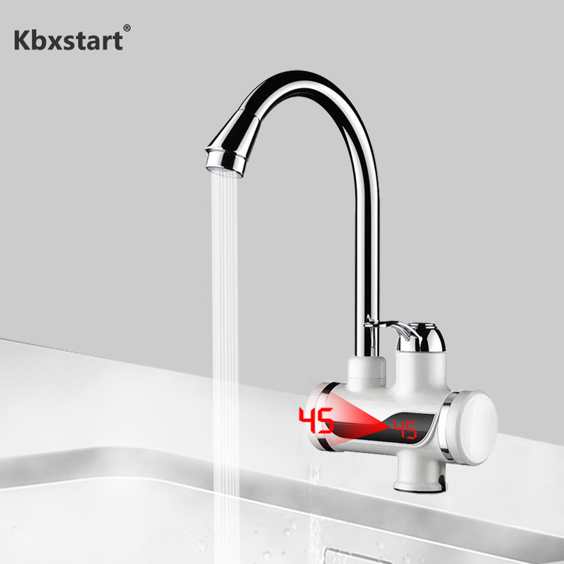 Rotatable Bathroom Kitchen Heating Tap Water Faucet 110V Tankless Electric Hot Water Heater Faucet With LED Digital Display