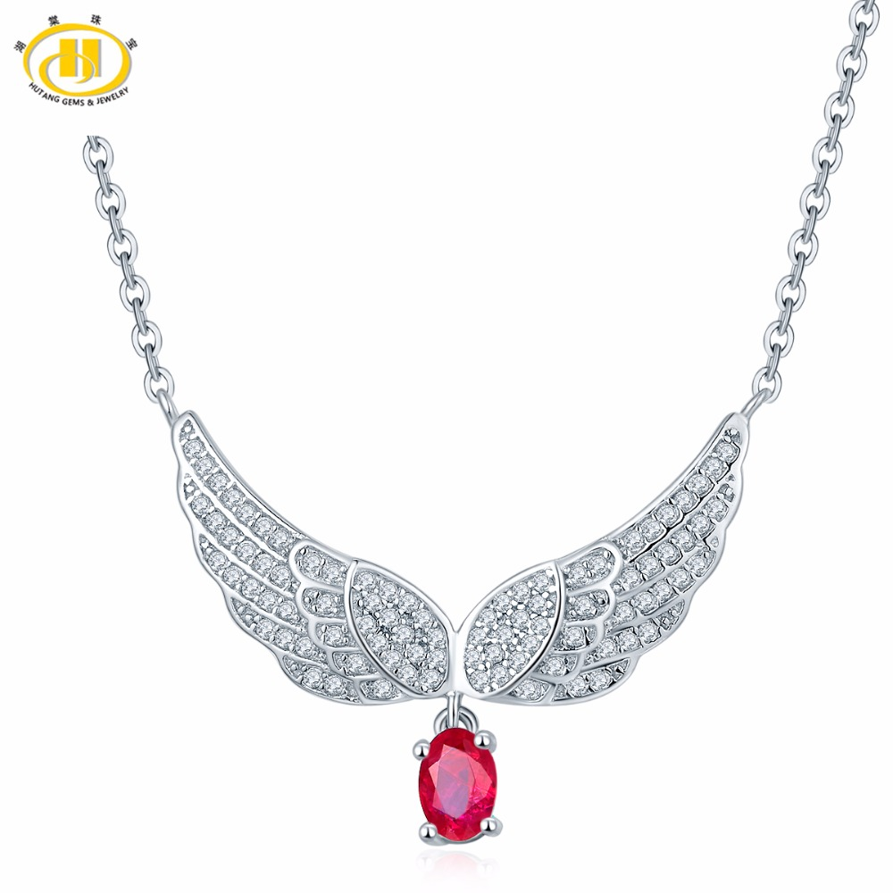Hutang 18 Inches Natural Gemstones Ruby Angel Pendant & Necklace Solid 925 Sterling Silver Fine Jewelry For Gift 2017 NEW стоимость