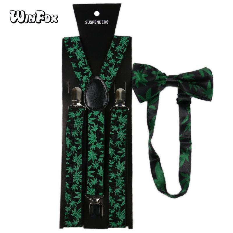 Winfox Vintage Black Green Suspenders Bow Tie Set Men Women Weed Suspenders Braces Bowtie