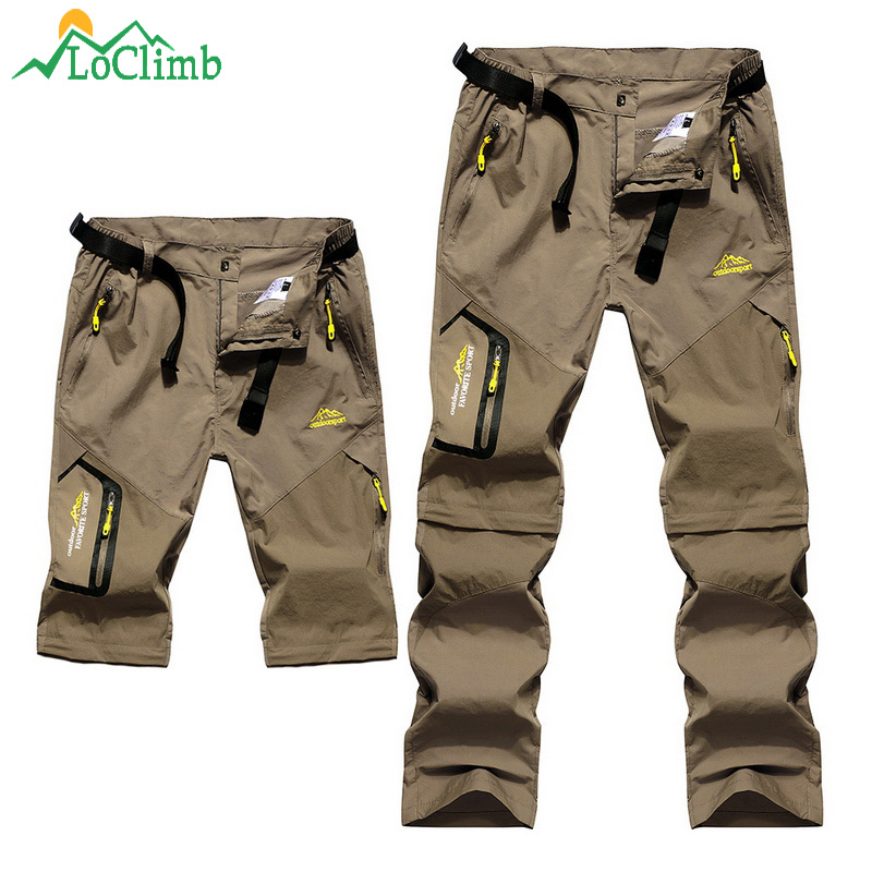 LoClimb Men's Summer Removable Hiking Pants Outdoor Camping Trip Trousers Man Trekking Pants Khaki Mountain Sports Shorts AM002-in Hiking Pants from Sports & Entertainment