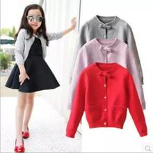Design Double Breasted O-Neck Cardigan Coat  Bow Decoration For Girl 2017 Autumn Popular Clothes  Pocket Knitting Exquisit S0111