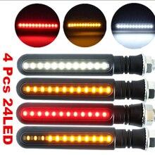 4 pcs LED Del Motociclo Segnale di Girata Luci di Acqua Che Scorre Indicatore di Illuminazione Bianco DRL Indicatori lampada del Freno Luci Lampeggianti Nuovo
