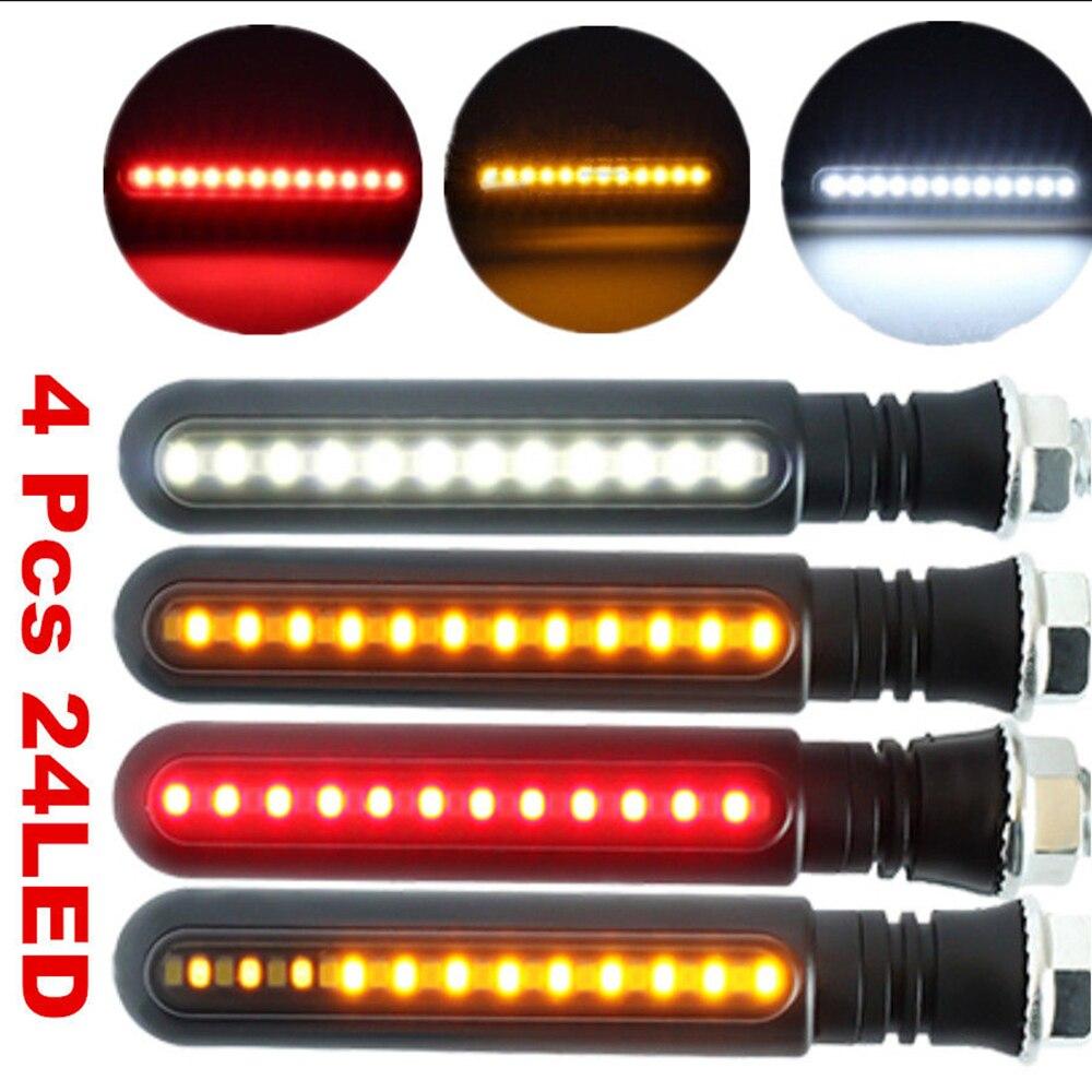 4 Pcs LED Motorcycle Turn Signal Lights Flowing Water Indicator Lighting White DRL Indicators Brake Lamp Flashing Lights New