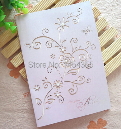 Free Shipping10pcs Lot Laser Cut Elegant Birthday Cards Vintage Style Wishes Paper Cutting Greeting In