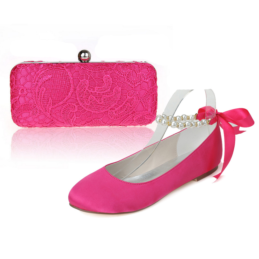 ФОТО Sweet hotpink satin flats with ankle strap ribbon bridal shoes with matching lace clutch bag handbag evening dress outfit party