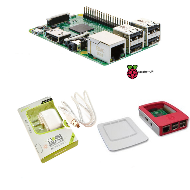 2016 Latest Raspberry Pi 3 Model B With Built-in wireless and Bluetooth connectivity+Power Supply+Official Case