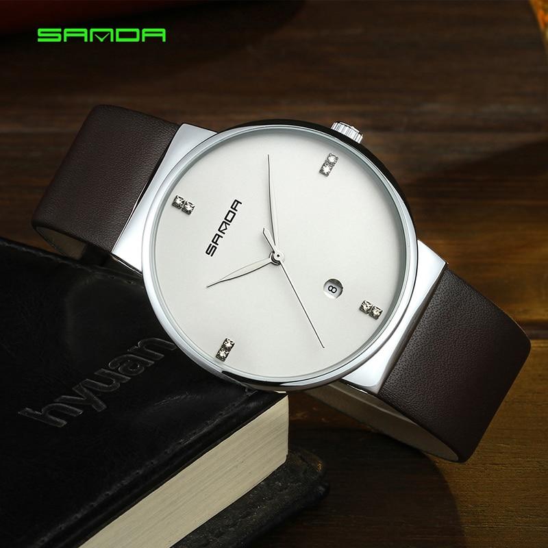 17e71fc89ee SANDA Top Marca de Luxo relógio de Pulso Homens Relógio de Quartzo Relógios  Vestido de Couro