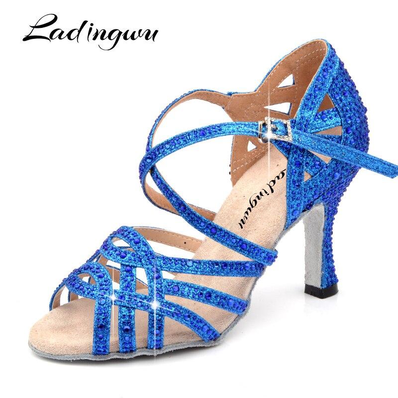 Ladingwu Sneakers Dance Shoes Blue Golden Glitter Full Rhinestone Latin Dance Shoes Salsa Ballroom Shoes Dance