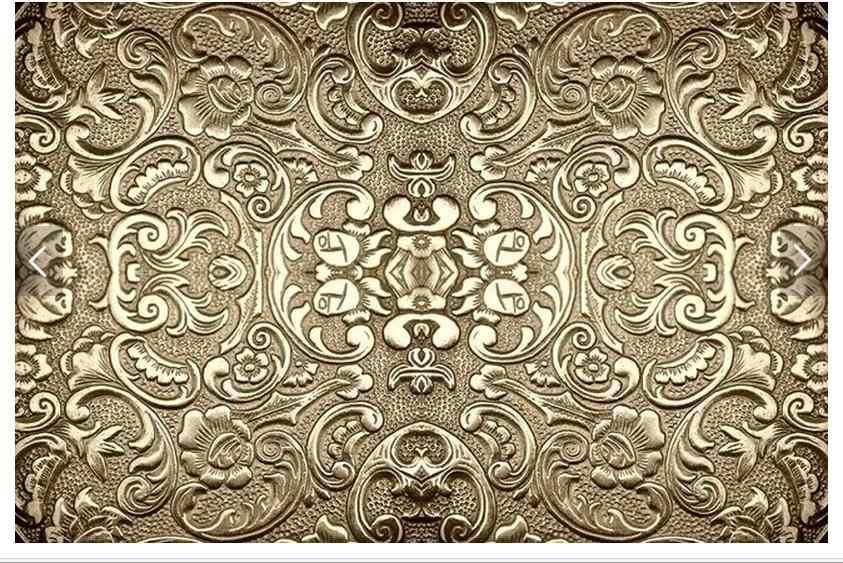 Индивидуальные 3d фото обои 3d Настенные обои золотой узор кружева Европейский ТВ установка стены диван гостиной украшения