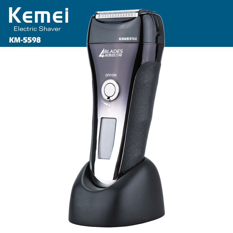 Kemei Rechargeable LCD Display Electric Shaver Four Blade Electronic Shaving Razor Men's Face Care Beard Shaver KM-5598 kemei km 7100 rechargeable washable electric shaver 3 blade floating reciprocating cordless facial beard use wet dry razor
