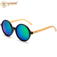 Retro classic bamboo arms sunglasses round frame mirror lens handmade sun glasses for women men custom logo available 1527