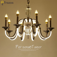 2018 American Style Modern Candle Chandelier Lighting Curved Arm Glows Lustres Para Quarto Wrought Iron Chandelier