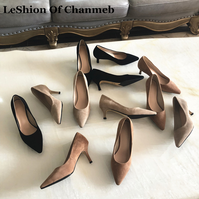 high quality sheep suede pumps office ladies work career shoes women s pointed toe thin high