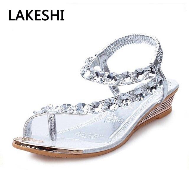 Women Summer Style Sandals Bling Rhinestone Flat Shoes Platform Wedges Sandals