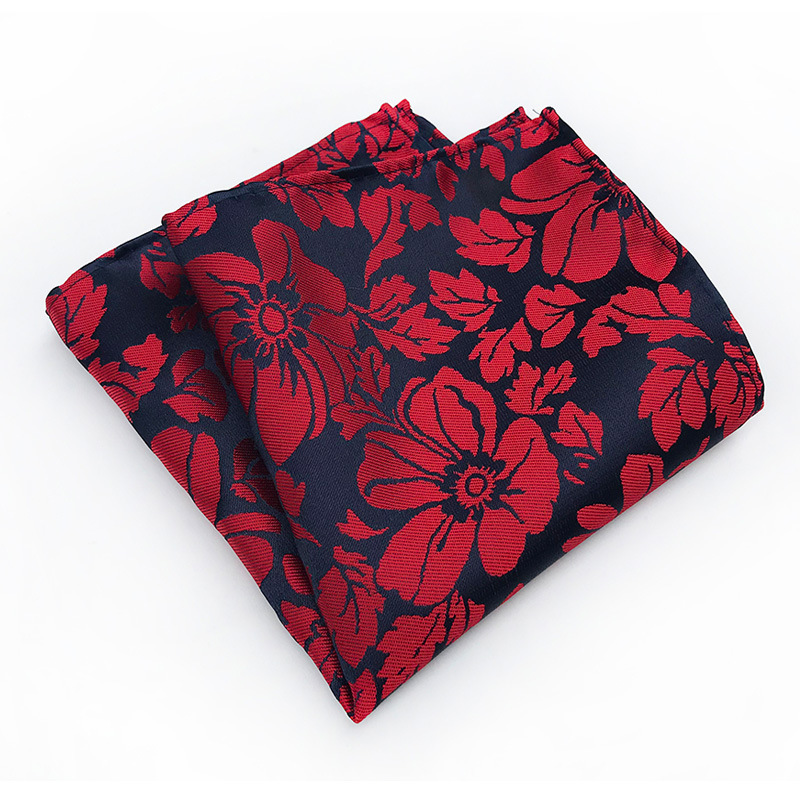 Mans Pocket Square Wine Red Flower Hanky Perfect Suit Handkerchief Wedding Party Silk Pocket Square