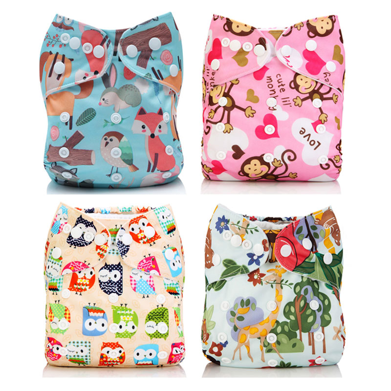 [Mumsbest] 4Pcs Baby Girl Boy Cloth Diapers Pocket With Microfiber Inserts Washable Nappy Reusable Animal Waterproof Diapers