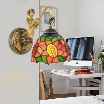 Mediterrane Tiffany Mermaid Ofhead Barokke Spiegel Licht Voor AC 110/220 V E27 Wandlampen Voor Thuis Gang Balkon Gangpad Mozaïek
