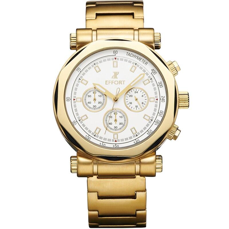 Effort Men Luxury Top Brand 6 Hands Clock Chronograph Gold Big Dial Designer Whatch Reloj Hombre