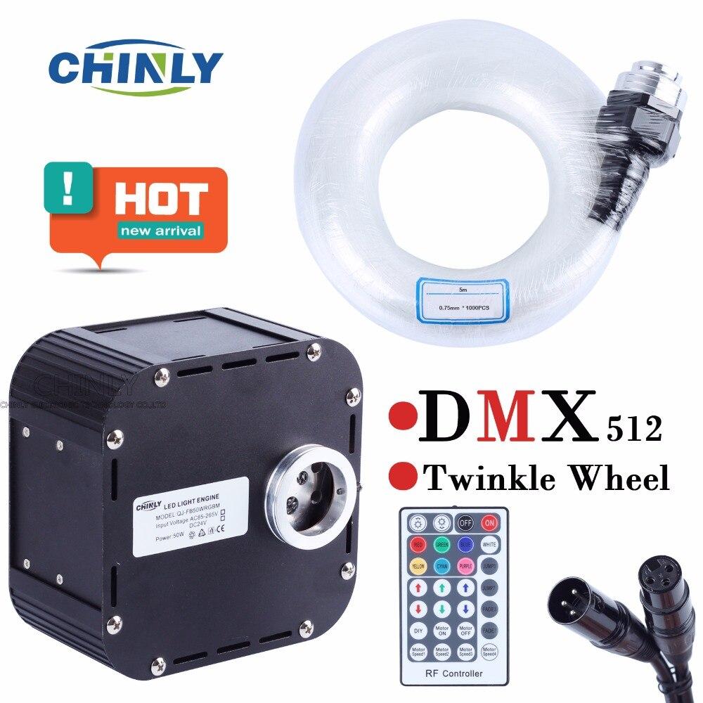 50 W RGBW LED Cintilam Luzes DMX 512 Suportado kit teto estrela De Fibra Óptica com luz 1000 pcs 5 m 0.75 milímetros 28Key RF Remoto