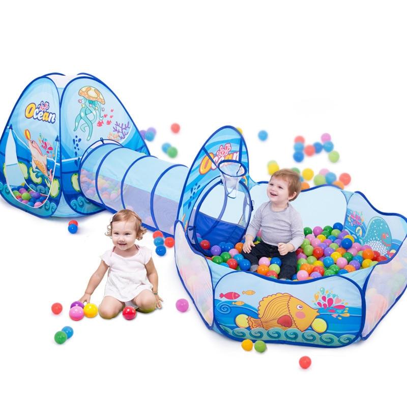 Jouets Tunnel Tente Océan Série de Bande Dessinée Jeu Grand Espace Piscines À Balles Piscine Portable Pliable Enfants Sports de Plein Air Jouet Éducatif