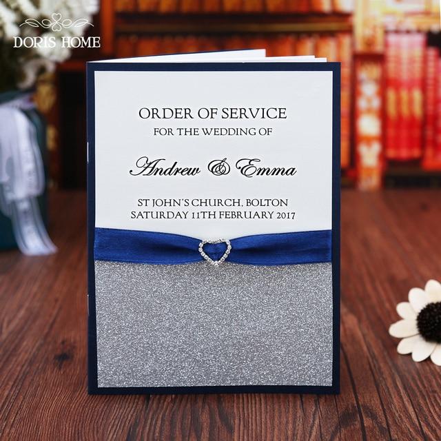 Blue Silver glitter wedding program booklet modern wedding