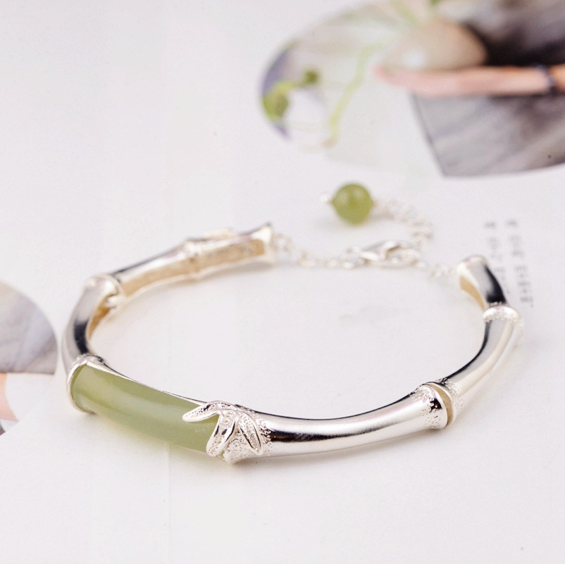 S925 pure silver inlay and tian yu bangles silver style female style bamboo bracelet, new products. accessories and accessories s925 pure silver personality female models new beeswax