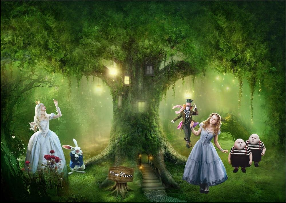 5x7ft Alice Wonderland Green Tree House Lantern White