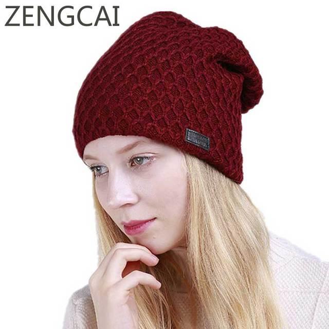 47f08de97945a 2018 Women Winter Cap Fleece Slouchy Beanie Hat Thicken Cashmere Hat  Knitted Warm Cap Fashion Ladies